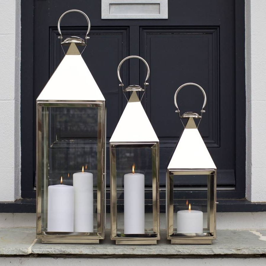 Tall Outdoor Lanterns Regarding Favorite Tall Stainless Steel Garden Candle Lanternza Za Homes (View 6 of 20)