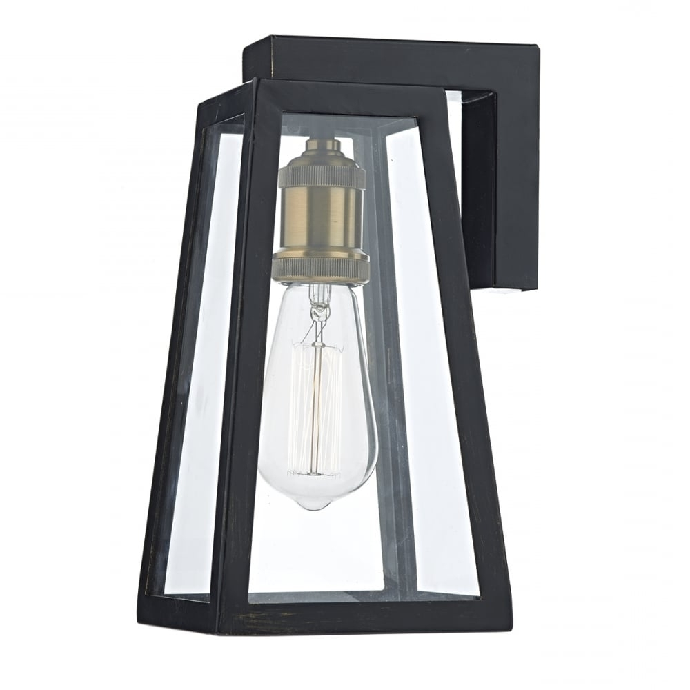 Tapered Matt Black Outdoor Wall Lantern With Clear Glass – Ip43 Pertaining To Fashionable Outdoor Glass Lanterns (View 19 of 20)