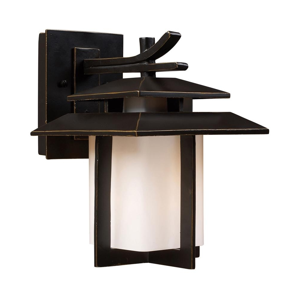 Titan Lighting Kanso 1 Light Led Hazelnut Bronze Outdoor Wall Mount In Newest Outdoor Lanterns And Sconces (View 4 of 20)
