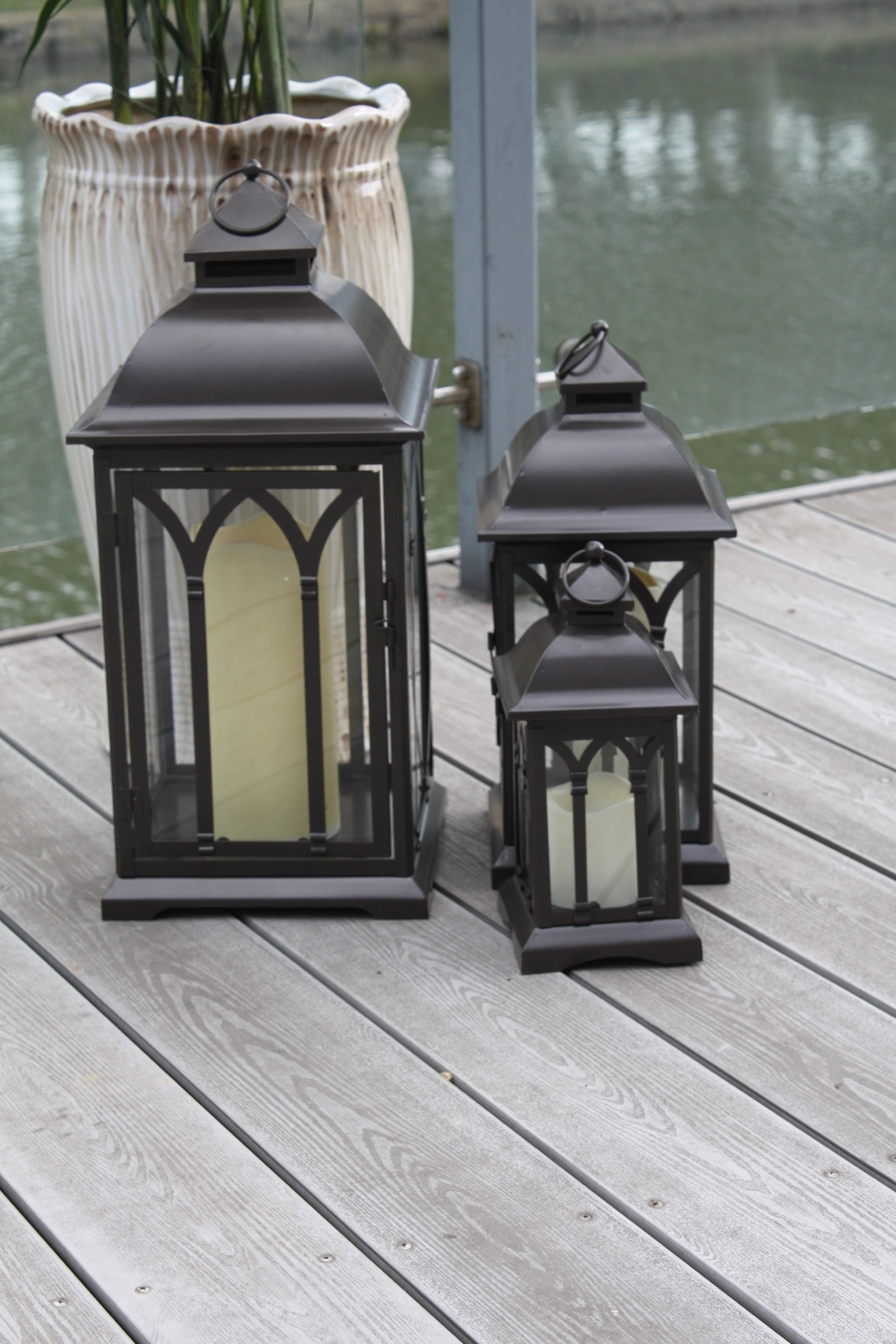 Trendy Exclusive Indoor Or Outdoor Set Of 3 Lombard Patio Lanterns Intended For Set Of 3 Outdoor Lanterns (Gallery 12 of 20)
