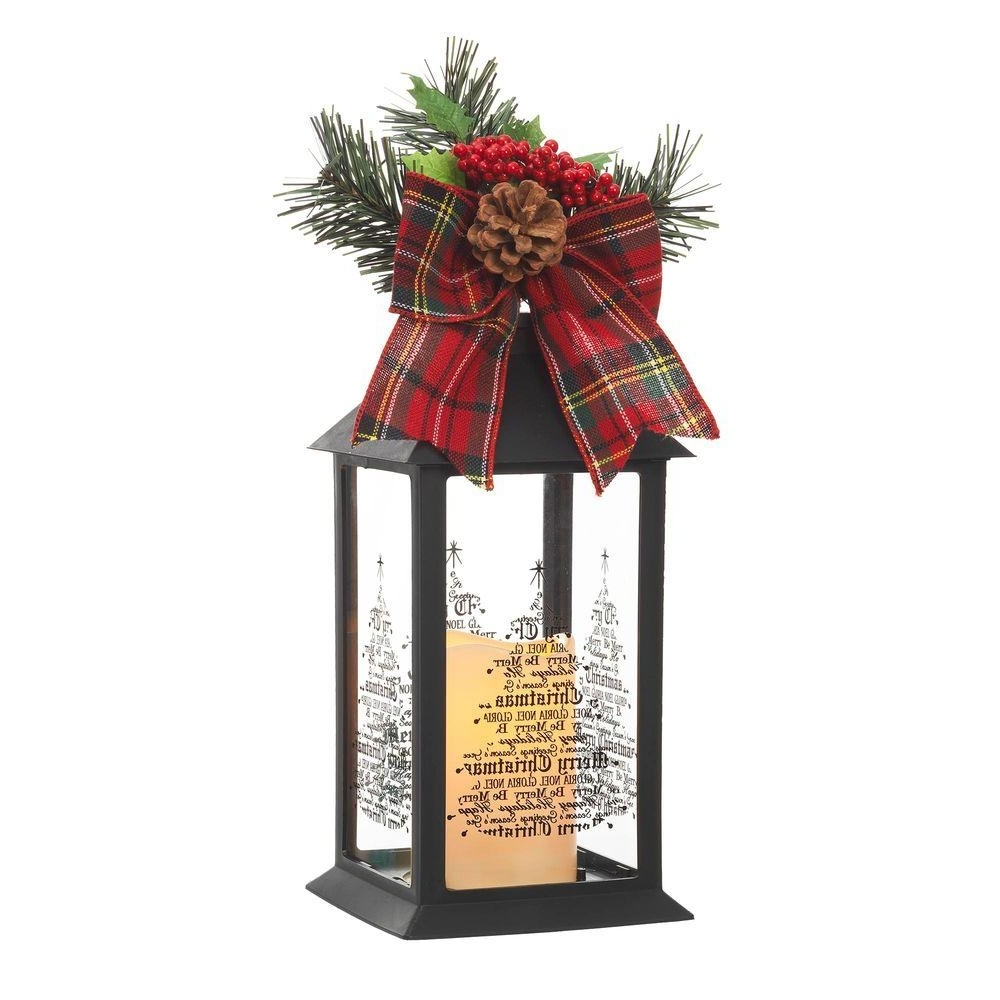 Trendy Home Accents Holiday 13 In. Black Plastic Lantern With Outdoor Resin Within Outdoor Holiday Lanterns (Gallery 10 of 20)