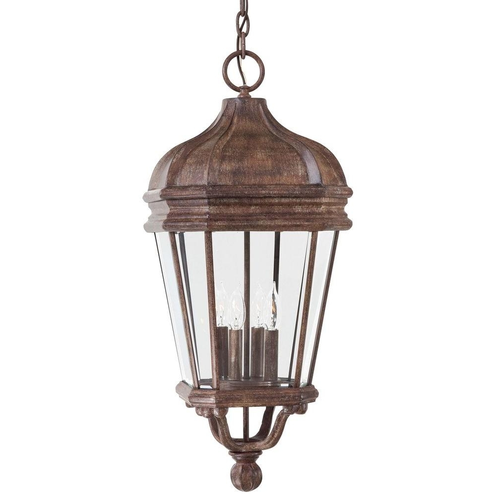 Trendy Indoor Outdoor Lanterns With The Great Outdoorsminka Lavery Harrison Vintage Rust 4 Light (Gallery 7 of 20)