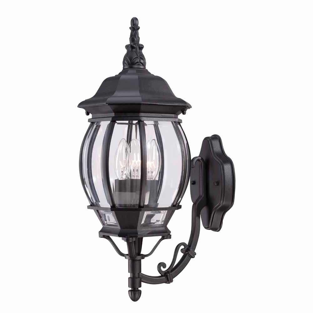 Trendy Inexpensive Outdoor Lanterns Throughout Hampton Bay 3 Light Black Outdoor Wall Mount Lantern Hb7028 05 – The (View 18 of 20)