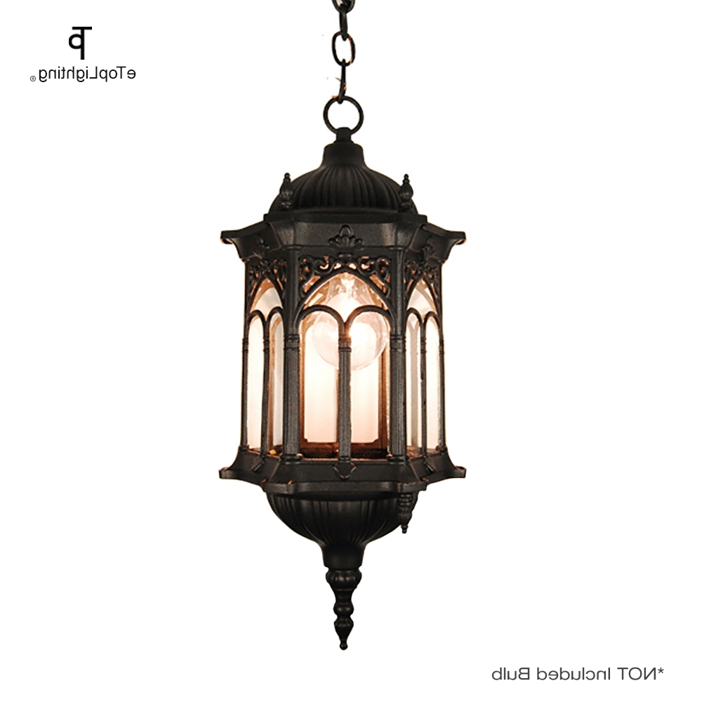 Trendy Matte Black Medieval Style Outdoor Hanging Porch Light Lantern Within Outdoor Weather Resistant Lanterns (View 19 of 20)