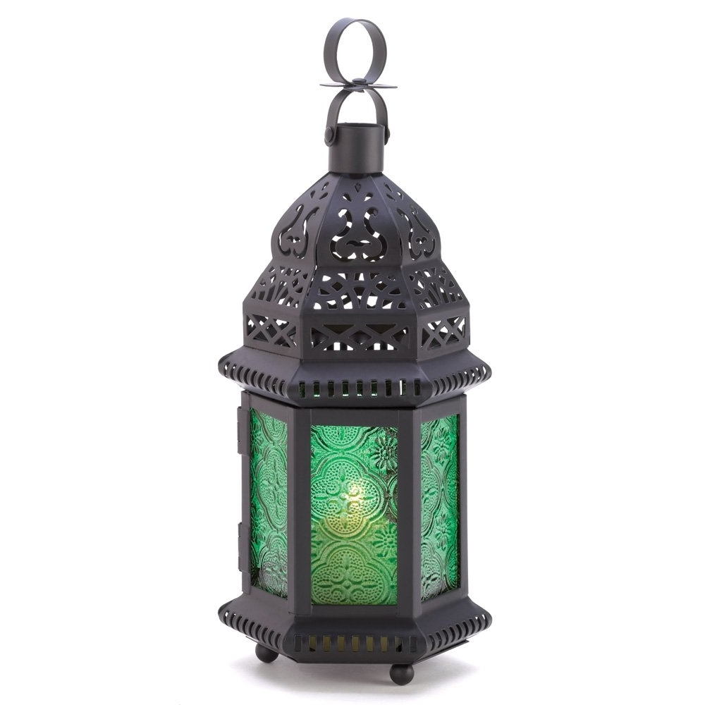 Trendy Moroccan Lantern Lamp, Green Glass Large Outdoor Lanterns For For Outdoor Lanterns Without Glass (View 16 of 20)