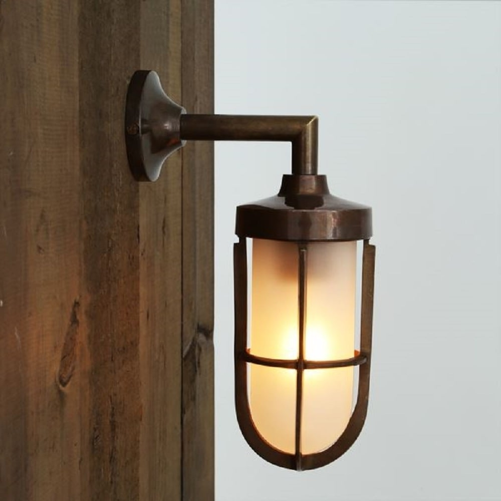 Trendy Nautical Design Solid Antique Brass Wall Light With Frosted Glass Shade Inside Industrial Outdoor Lanterns (View 16 of 20)