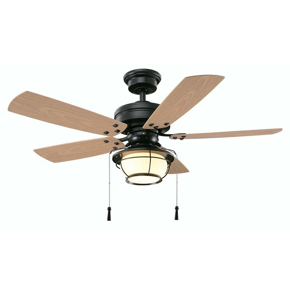 Trendy Outdoor Ceiling Fans With Pull Chains With Regard To Hampton Bay North Shoreline 46 In. Led Indoor/outdoor Natural Iron (Gallery 1 of 20)