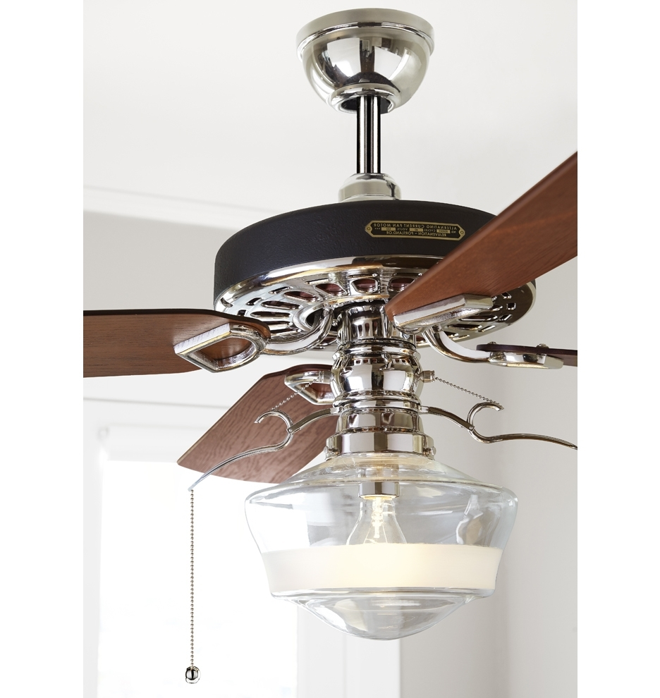 Trendy Outdoor Ceiling Fans With Schoolhouse Light With Heron Ceiling Fan With Ogee Schoolhouse Single Satin Stripe Shade (View 16 of 20)