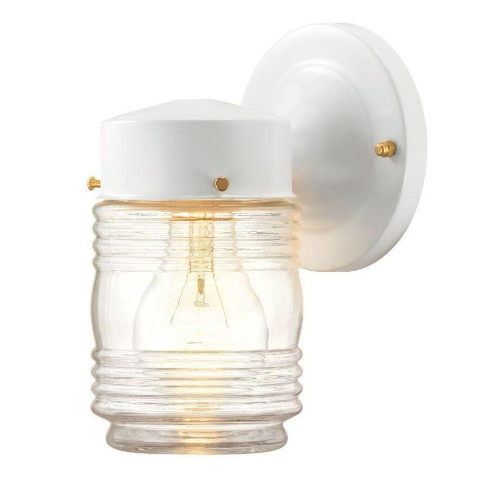 Trendy Outdoor Jar Lanterns With Hampton Bay 1 Light Outdoor Matte White Jelly Jar Wall Lantern (View 13 of 20)