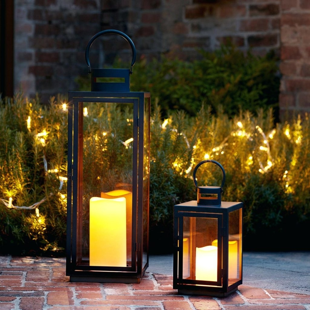 Trendy Outdoor Lanterns And Candles With Regard To Candles ~ Garden Candle Lantern Black Metal Outdoor Lanterns S (Gallery 11 of 20)