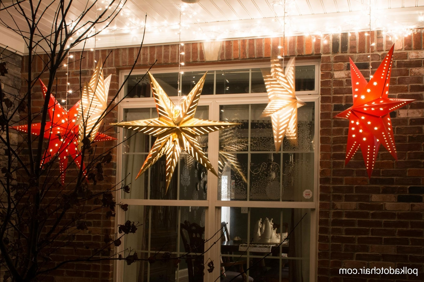 Trendy Outdoor Lanterns For Front Porch With Regard To Hanging Star Lanterns; A Christmas Front Porch Decorating Idea – The (View 13 of 20)