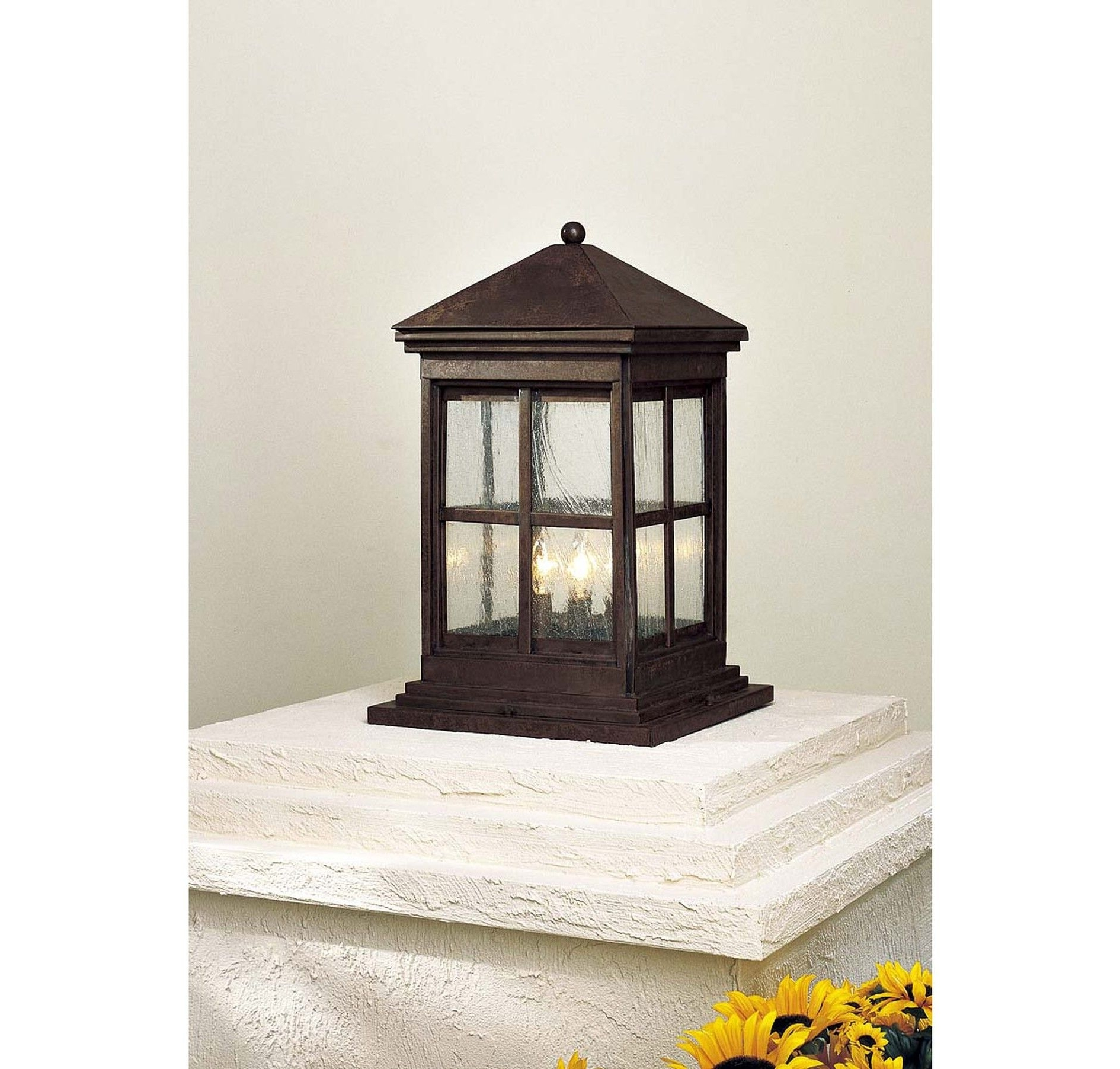 Trendy Outdoor Lanterns For Pillars Within The Great Outdoors Berkeley 4 Light Column Mount In Outdoor Lights (View 17 of 20)