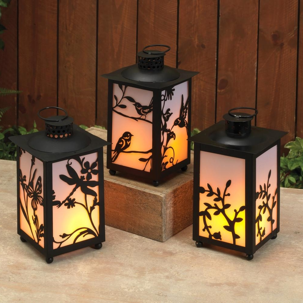 Trendy Outdoor Lanterns With Battery Operated For Black Battery Operated Plastic Fireglow Lanterns With Timer Feature (View 14 of 20)