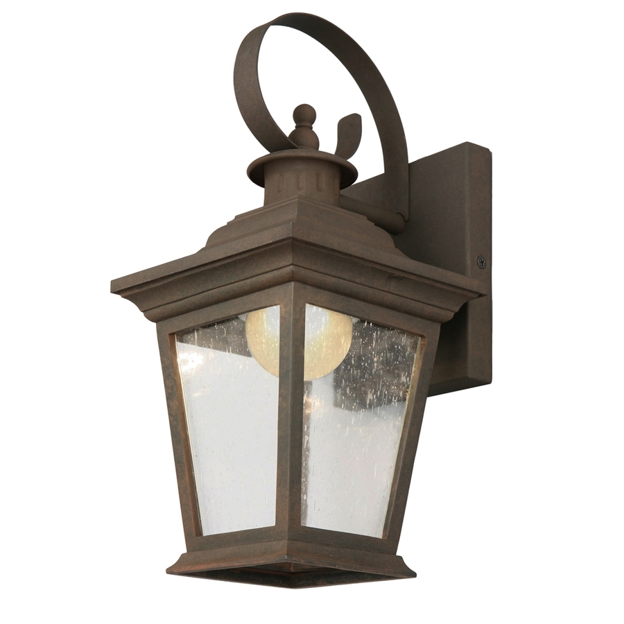 Trendy Outdoor Lanterns With Led Lights Within Shop Portfolio 13 In H Rust Dark Sky Led Outdoor Wall Light Energy (View 10 of 20)