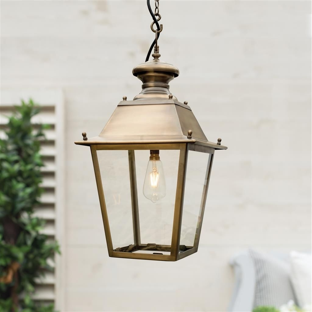 Trendy Outdoor Porch Lanterns Within Standard Canterbury Lantern In Antiqued Brass (View 17 of 20)