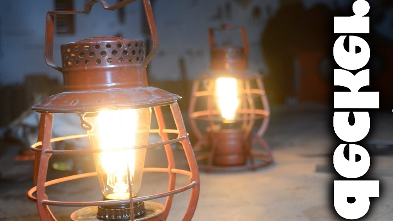 Trendy Outdoor Railroad Lanterns With Regard To Diy: Turn Vintage Train Lanterns Into Lamps – Youtube (View 12 of 20)