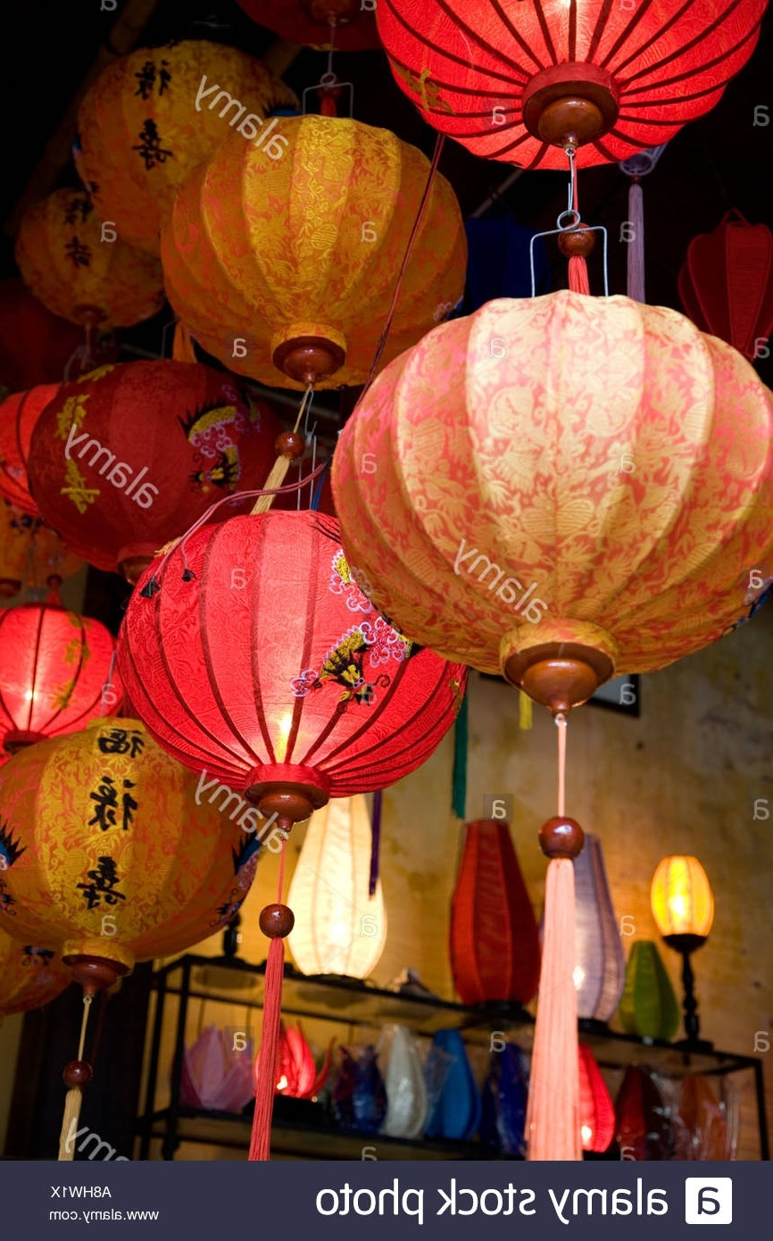 Trendy Outdoor Vietnamese Lanterns Intended For Traditional Lanterns On Sale, Hoi An, Vietnam Stock Photo:  (View 17 of 20)