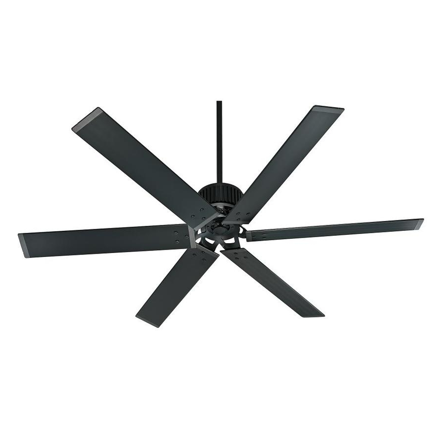 Trendy Shop Hunter Industrial 72 In Matte Black Indoor/outdoor Downrod Regarding Industrial Outdoor Ceiling Fans With Light (View 15 of 20)