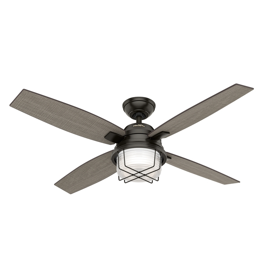 Trendy Shop Hunter Ivy Creek 52 In Noble Bronze Indoor/outdoor Ceiling Fan Intended For Outdoor Ceiling Fans Flush Mount With Light (View 9 of 20)