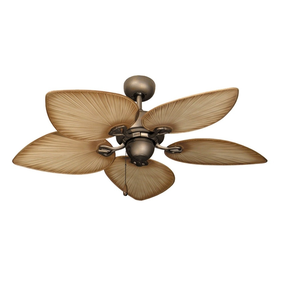 Tropical Ceiling Fans With Palm Leaf Blades, Bamboo, Rattan And More With Regard To Favorite Tropical Design Outdoor Ceiling Fans (View 1 of 20)