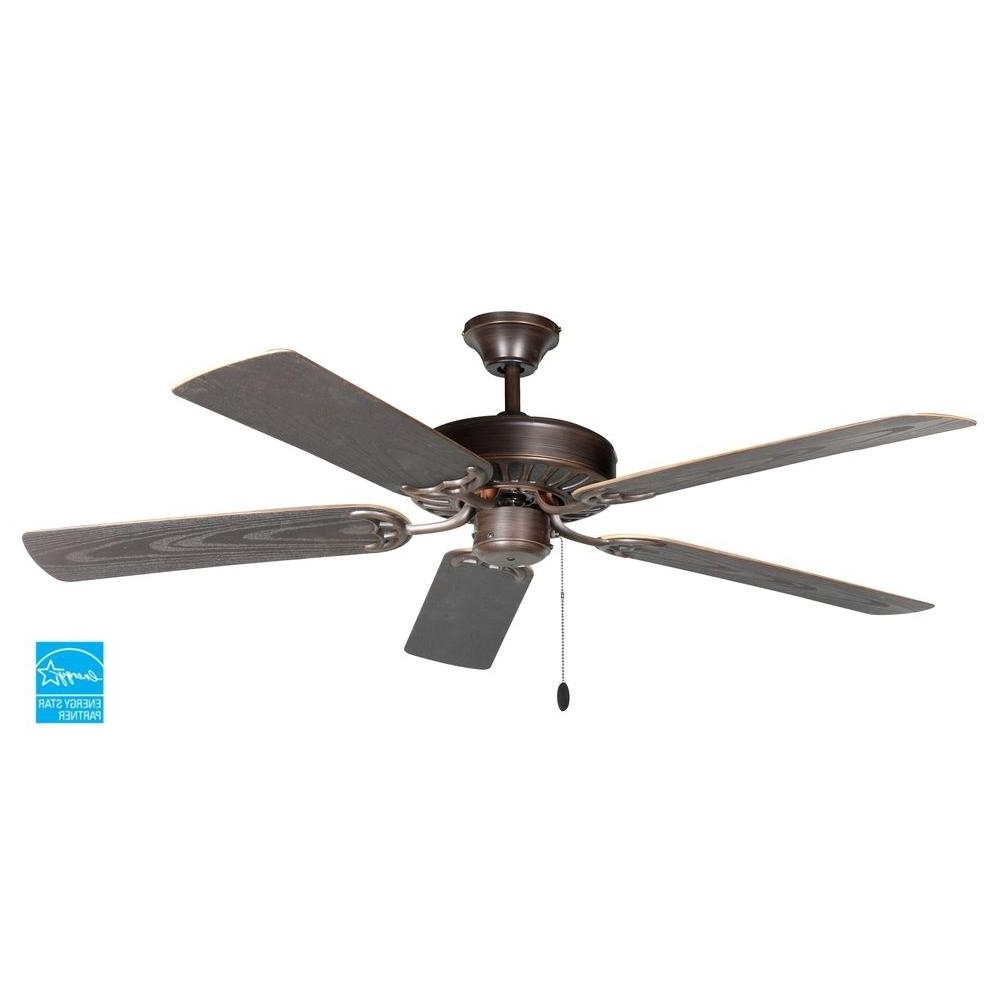 Troposair Proseries Builder 52 In. Oil Rubbed Bronze Outdoor Ceiling Inside Fashionable Kichler Outdoor Ceiling Fans With Lights (Gallery 18 of 20)