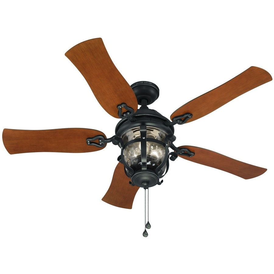 Unique Outdoor Ceiling Fans Pertaining To Most Recent Shop Harbor Breeze Lake Placido 52 In Black Iron Indoor/outdoor (View 11 of 20)