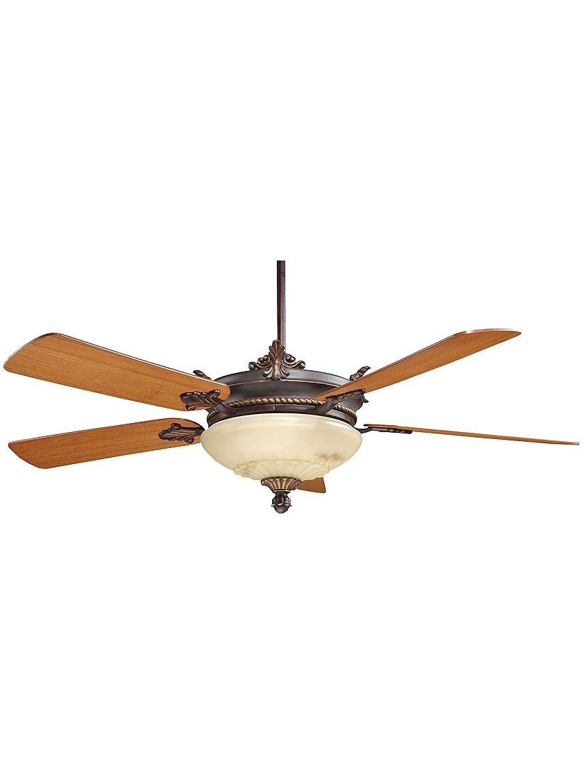 """Victorian Outdoor Ceiling Fans For Most Current 52"""" Bristol Ceiling Fan With Light In Antique Copper (View 16 of 20)"""