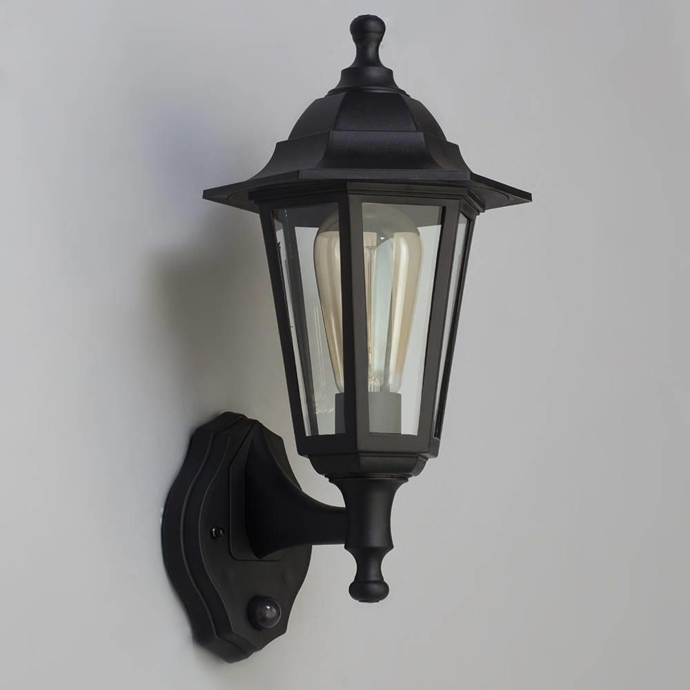 Victorian Outdoor Lanterns For Trendy Neri Outdoor Polycarbonate Wall Lantern With Pir – Black (Gallery 9 of 20)