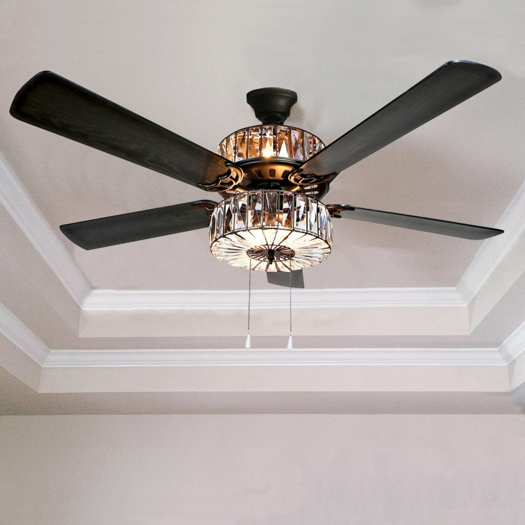 """Victorian Style Outdoor Ceiling Fans Intended For Most Current River Of Goods 52"""" Caged Crystal 5 Blade Ceiling Fan With Remote (View 14 of 20)"""