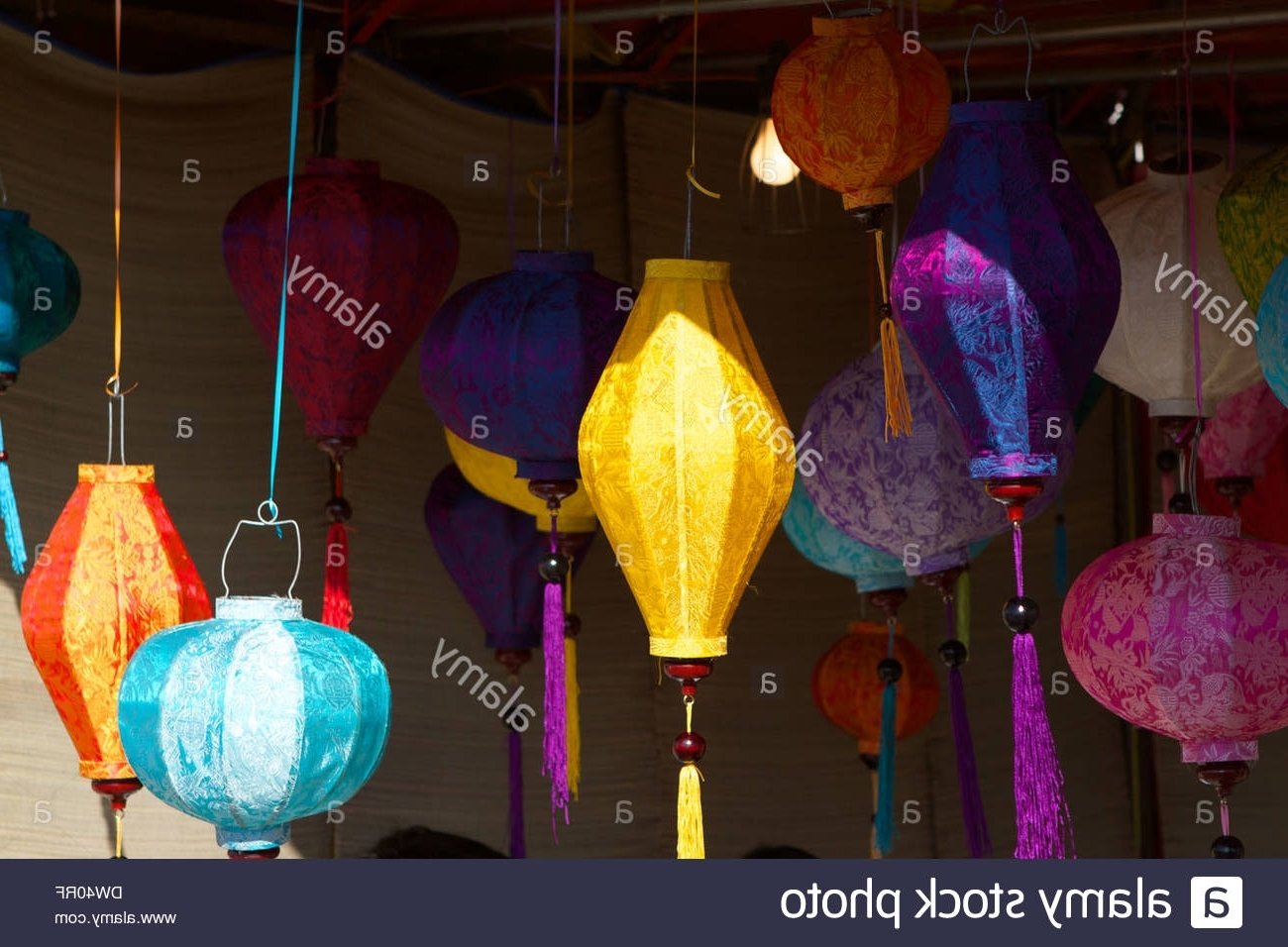 Vietnamese Chinese Lanterns Hanging Outside Market Stalls At A Stock With Regard To 2019 Outdoor Vietnamese Lanterns (Gallery 4 of 20)