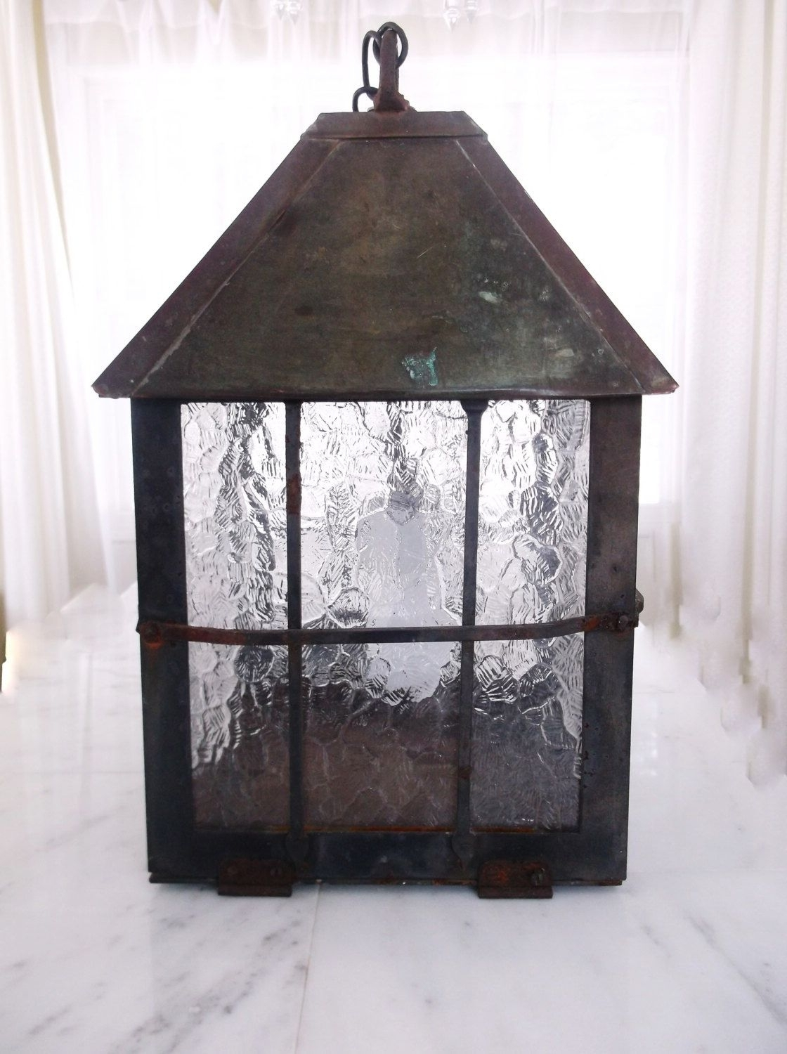 Vintage Wrought Iron And Copper Hanging Electrical Lantern Indoor In Most Up To Date Rustic Outdoor Electric Lanterns (Gallery 6 of 20)