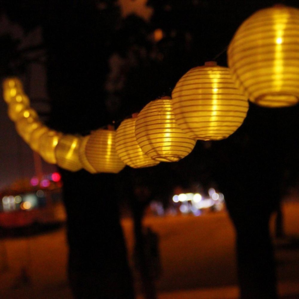 Vunji 5m Solar Light 20 Leds Outdoor Nylon Lantern String Light Inside Well Liked Outdoor Nylon Lanterns (View 15 of 20)