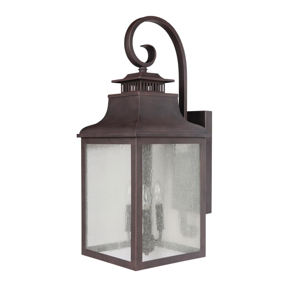 Wall Mounted Outdoor Lanterns Within Most Up To Date Y Decor Morgan 3 Light Rustic Bronze Outdoor Wall Mount Lantern (View 18 of 20)