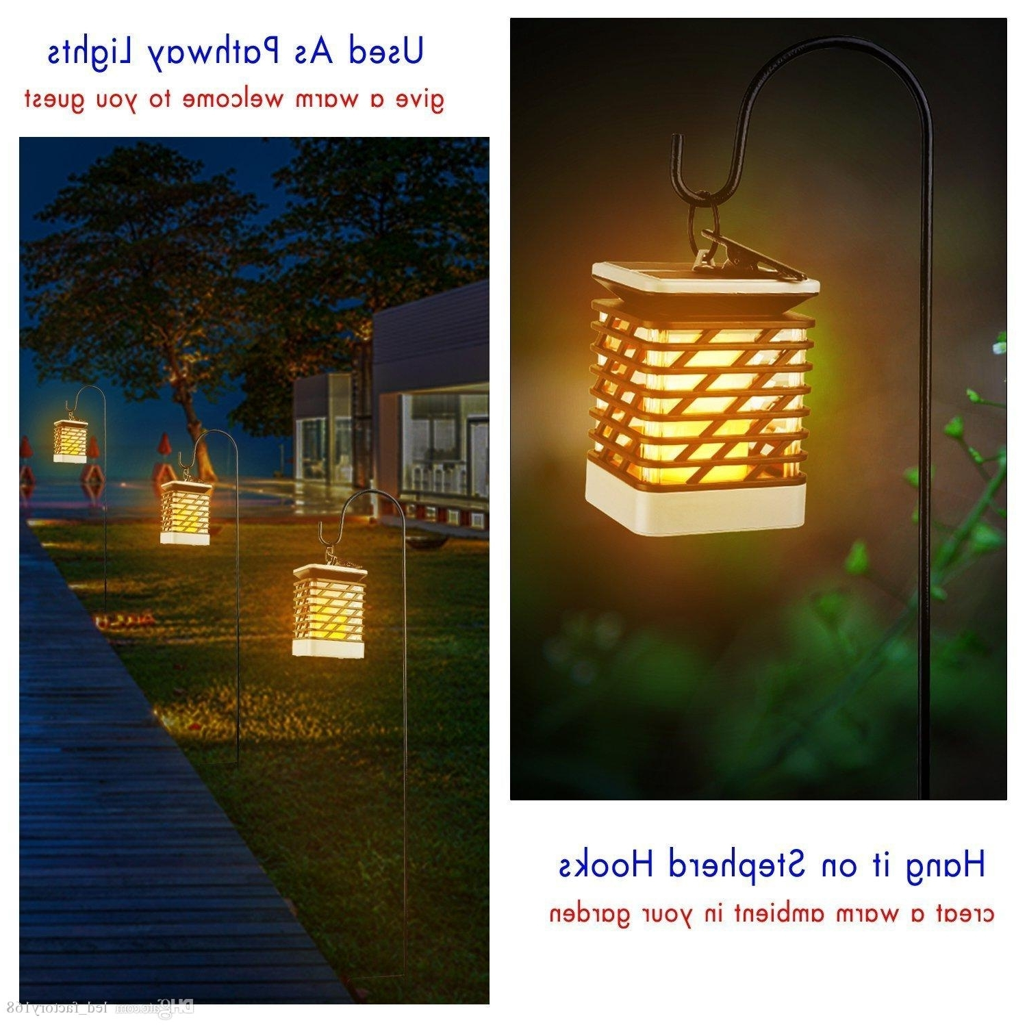 Waterproof Outdoor Lanterns Inside Preferred 2018 Waterproof Solar Lights Outdoor Led Flickering Flame Torch (View 11 of 20)