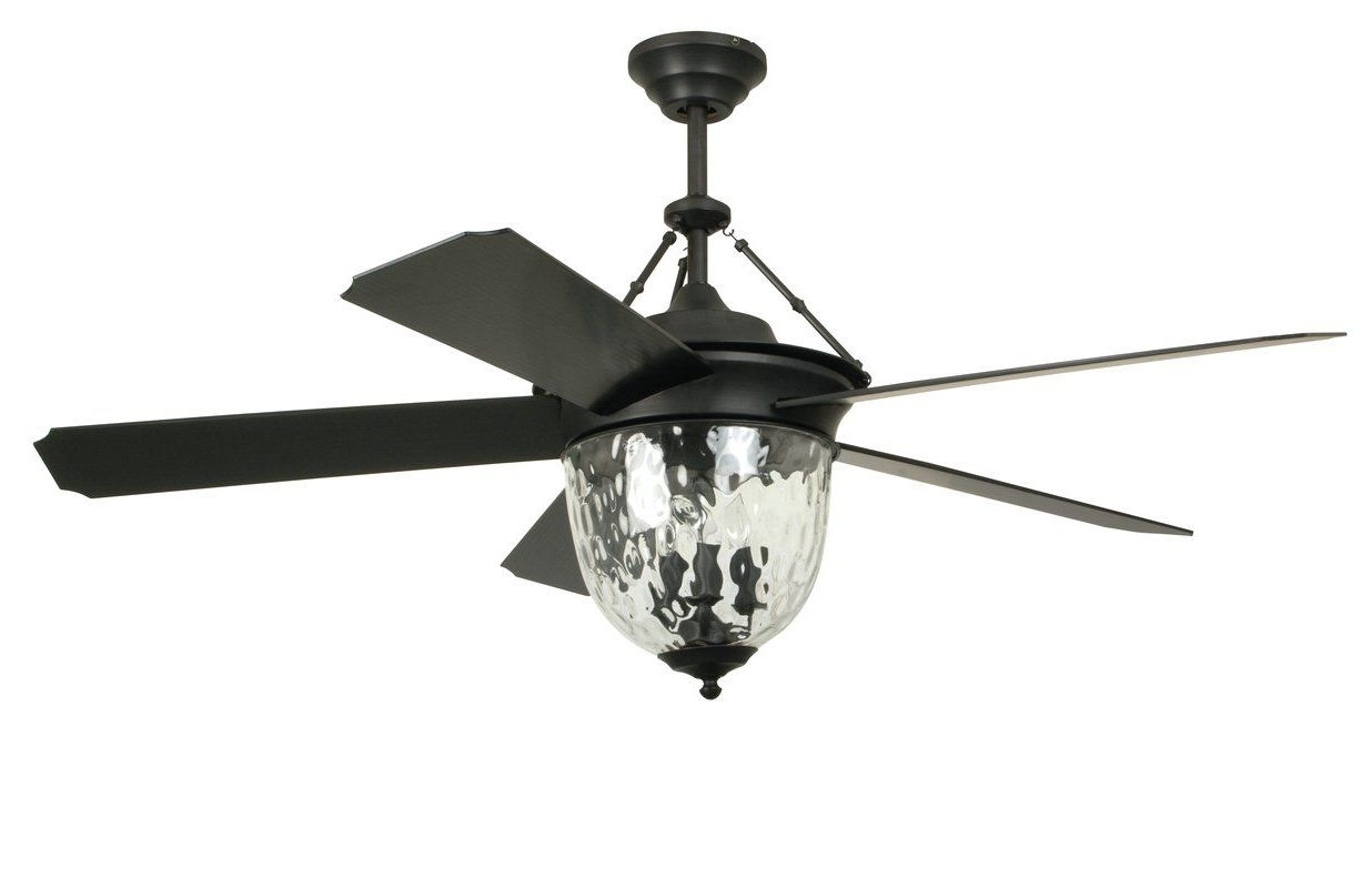 "Wayfair Outdoor Ceiling Fans With Lights With Regard To Fashionable Craftmade 52"" Cavalier 5 Blade Ceiling Fan With Wall Remote (View 17 of 20)"