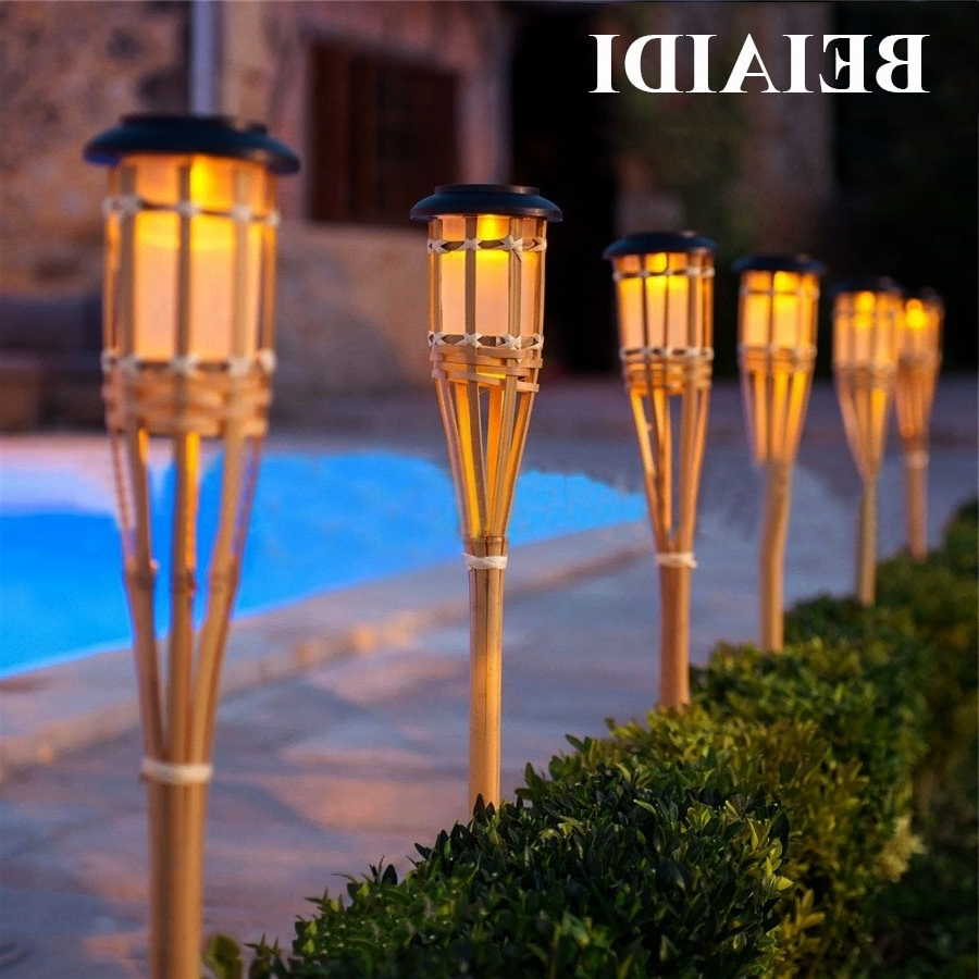 Well Known Beiaidi 10Pcs Solar Spike Spotlight Lamps Handmade Bamboo Tiki With Regard To Outdoor Tiki Lanterns (View 18 of 20)