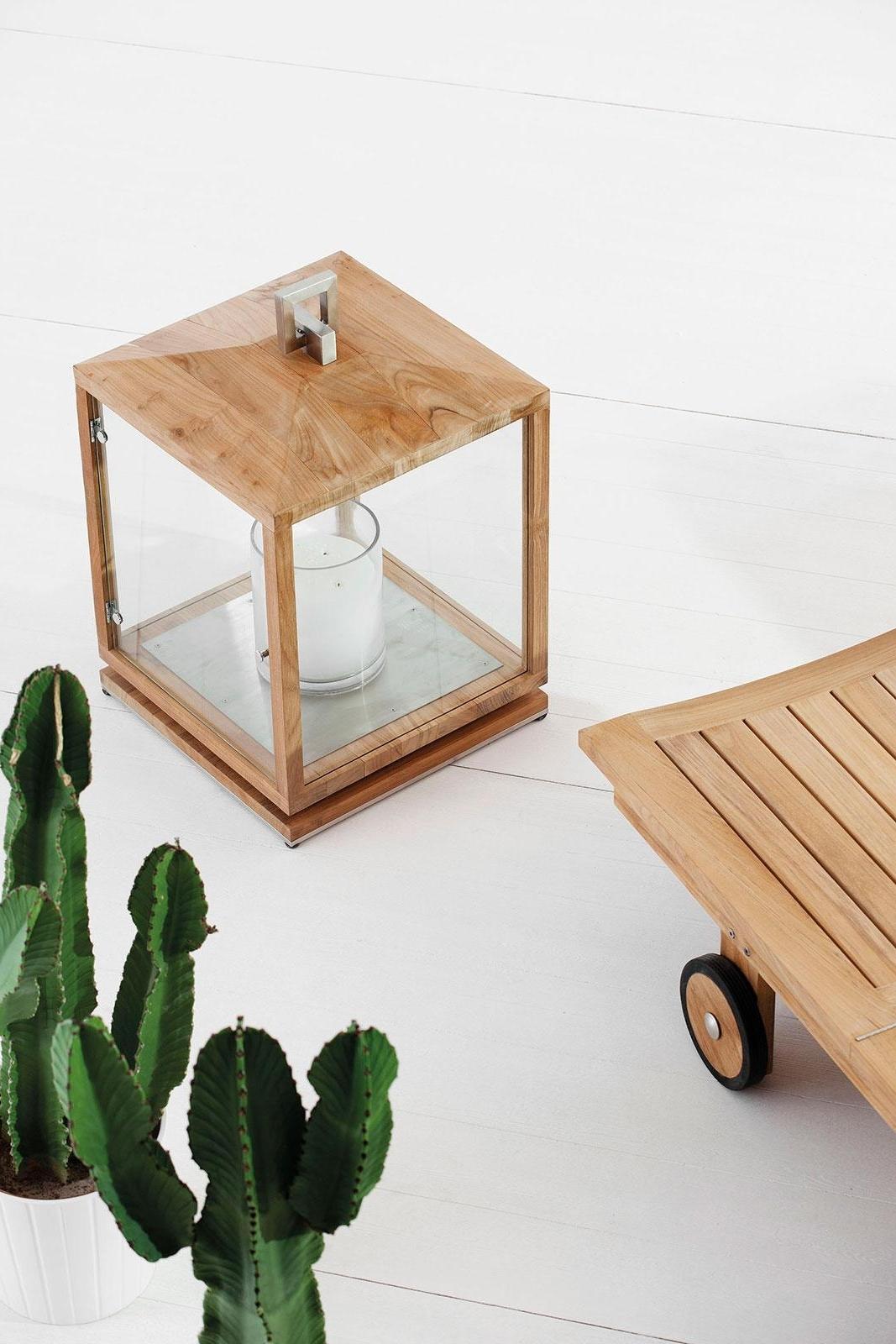 Well Known Cubico Outdoor Teak Lantern – Idd In Outdoor Teak Lanterns (View 6 of 20)