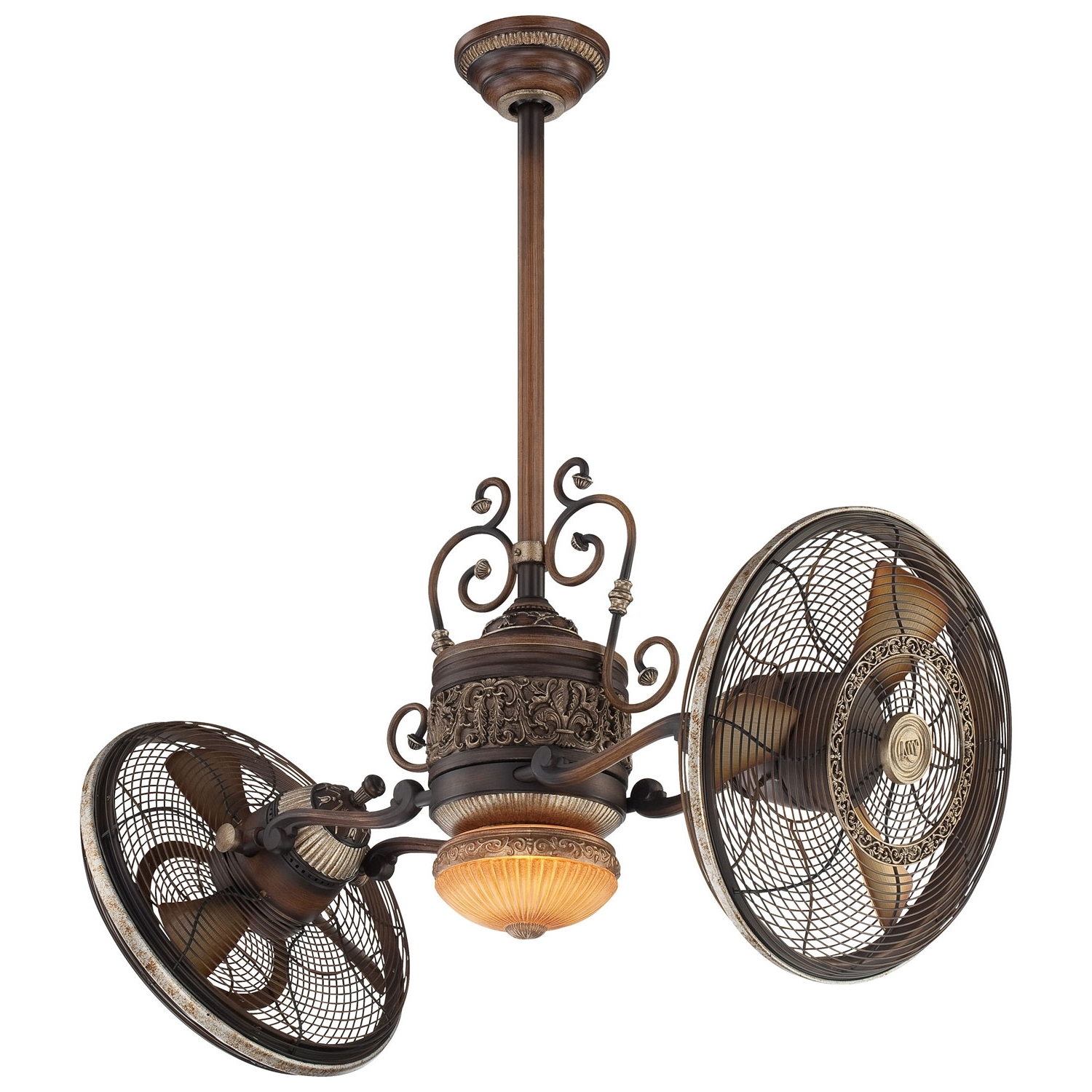Well Known Dual Outdoor Ceiling Fans With Lights Intended For Minka Aire 42 Inch Traditional Gyro Belcaro Walnut Ceiling Fan F (View 19 of 20)