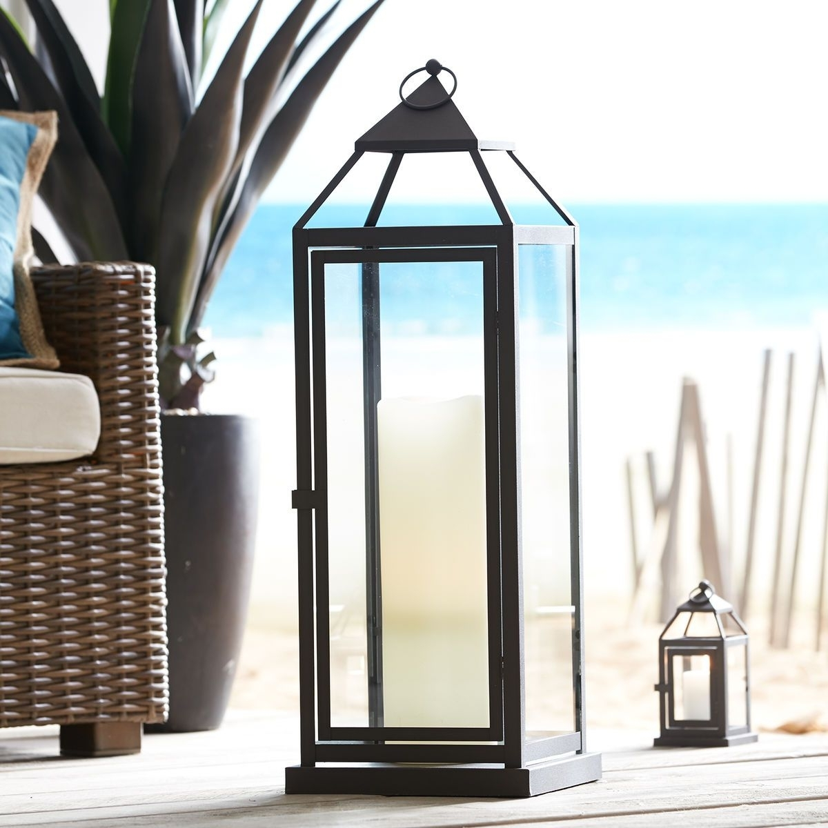 Well Known Extra Large Outdoor Lanterns In Landen Extra Large Black Metal Lantern (View 9 of 20)