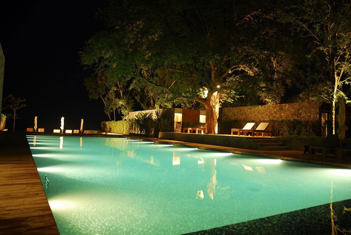 Well Known Impressive Swimming Pool Lights – Pool Lighting Ideas And Design With Outdoor Lanterns For Poolside (View 2 of 20)