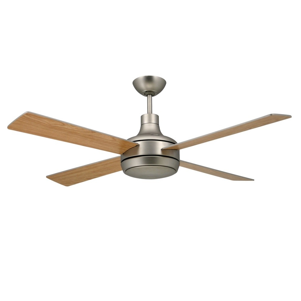 Well Known Metal Outdoor Ceiling Fans With Light With Regard To Quantum Ceilingtroposair Fans Satin Steel Finish With Optional (View 12 of 20)