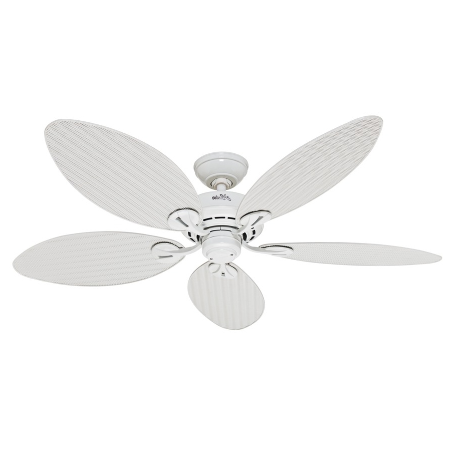 Well Known Outdoor Ceiling Fans With Leaf Blades With Regard To Shop Hunter Bayview 54 In White Indoor/outdoor Ceiling Fan At Lowes (View 17 of 20)