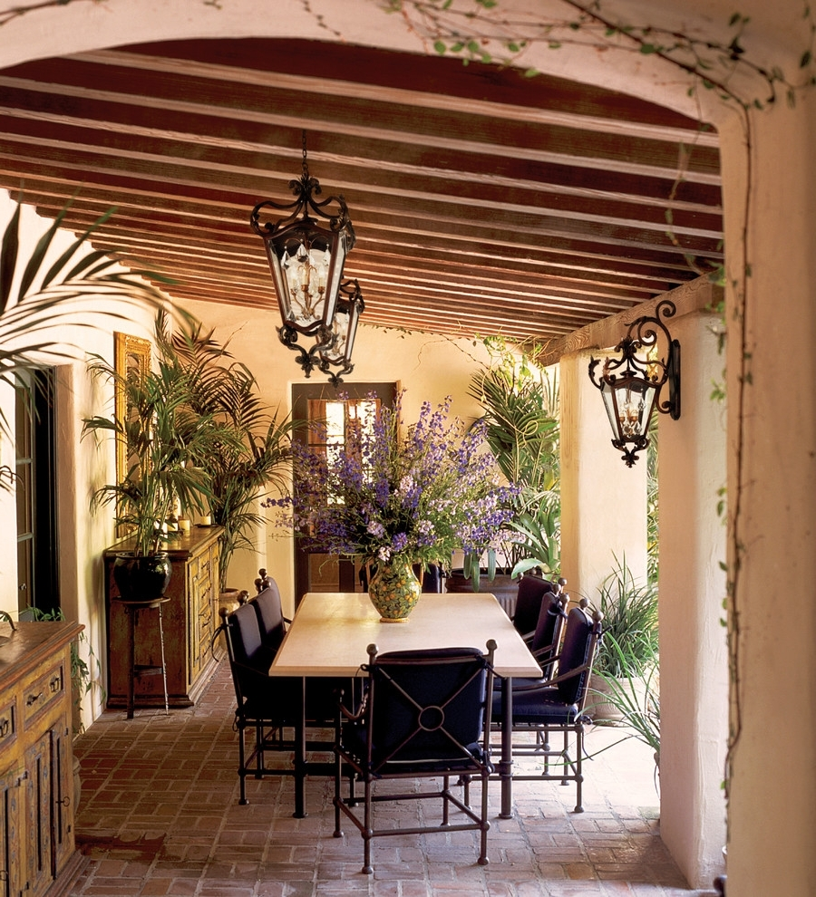 Well Known Outdoor Dining Lanterns Regarding Rustic Outdoor Furniture Plans Patio Farmhouse Table Country Style (View 8 of 20)