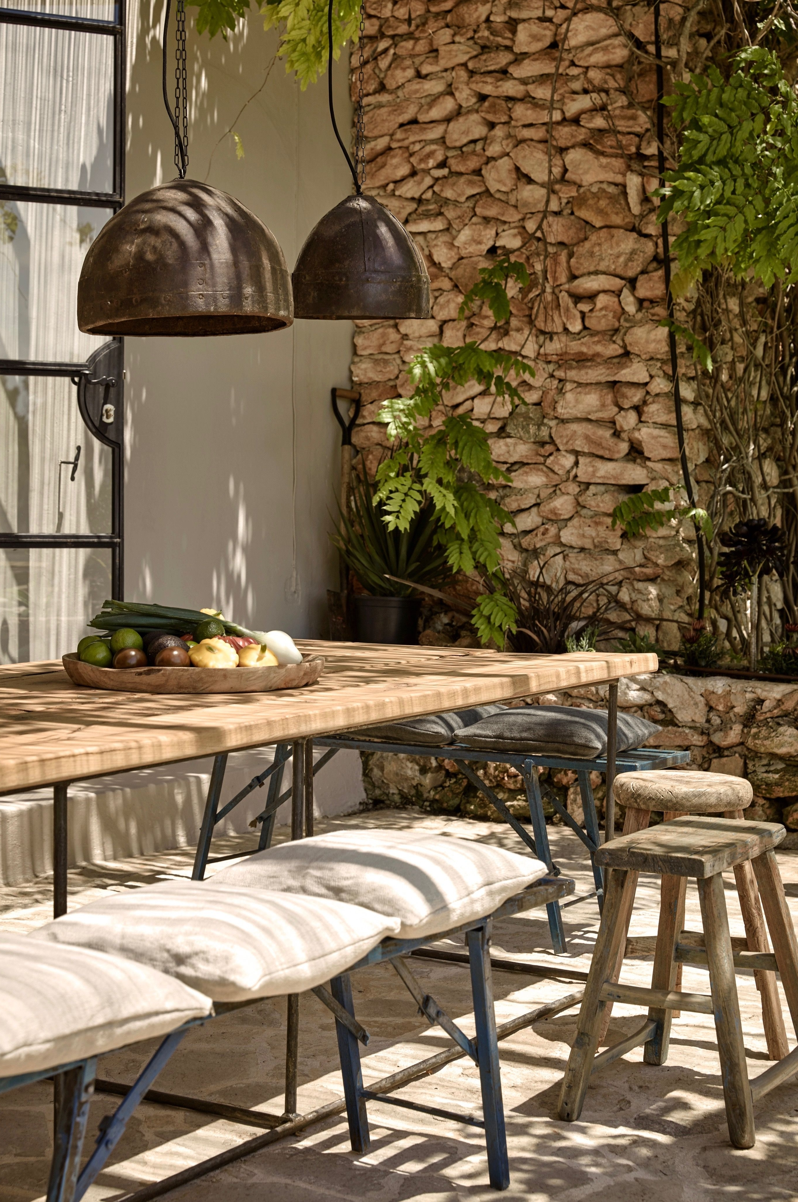 Well Known Outdoor Dining Lanterns With Regard To Hotel La Granja Ibiza Outdoor Dining Lanterns Stone Wall Gardenista (View 12 of 20)