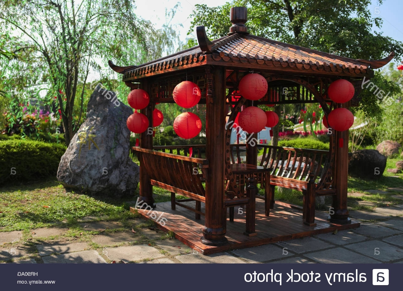 Well Known Outdoor Gazebo Lanterns Within Classic Chinese Gazebo With Lanterns At Fo Guang Shan Temple Stock (View 20 of 20)
