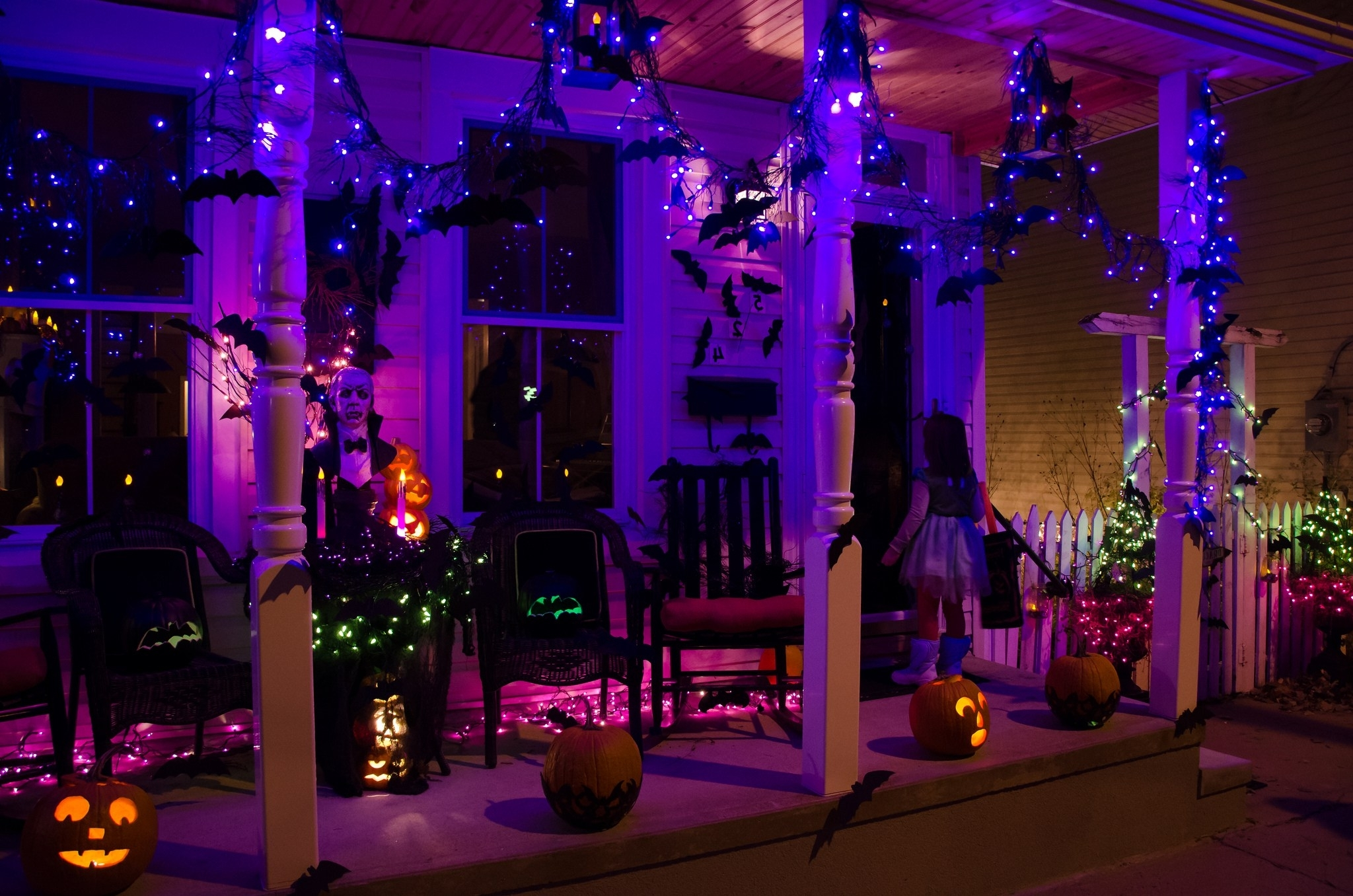 Well Known Outdoor Halloween Lanterns Pertaining To Wondrous Your Front Porch Along With Hanging Paper Bats Haunted (View 19 of 20)