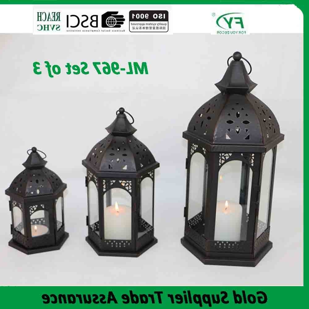Well Known Set Of 3 Outdoor Lanterns Regarding Product – Ml 967 Set Of 3 Outdoor Decorative Wholesale Moroccan (View 19 of 20)