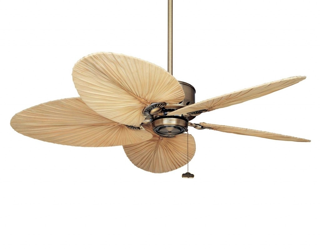 Well Known Tropical Design Outdoor Ceiling Fans Within Outdoor Ceiling Fans Design With Tropical Leaf Blades And (View 20 of 20)