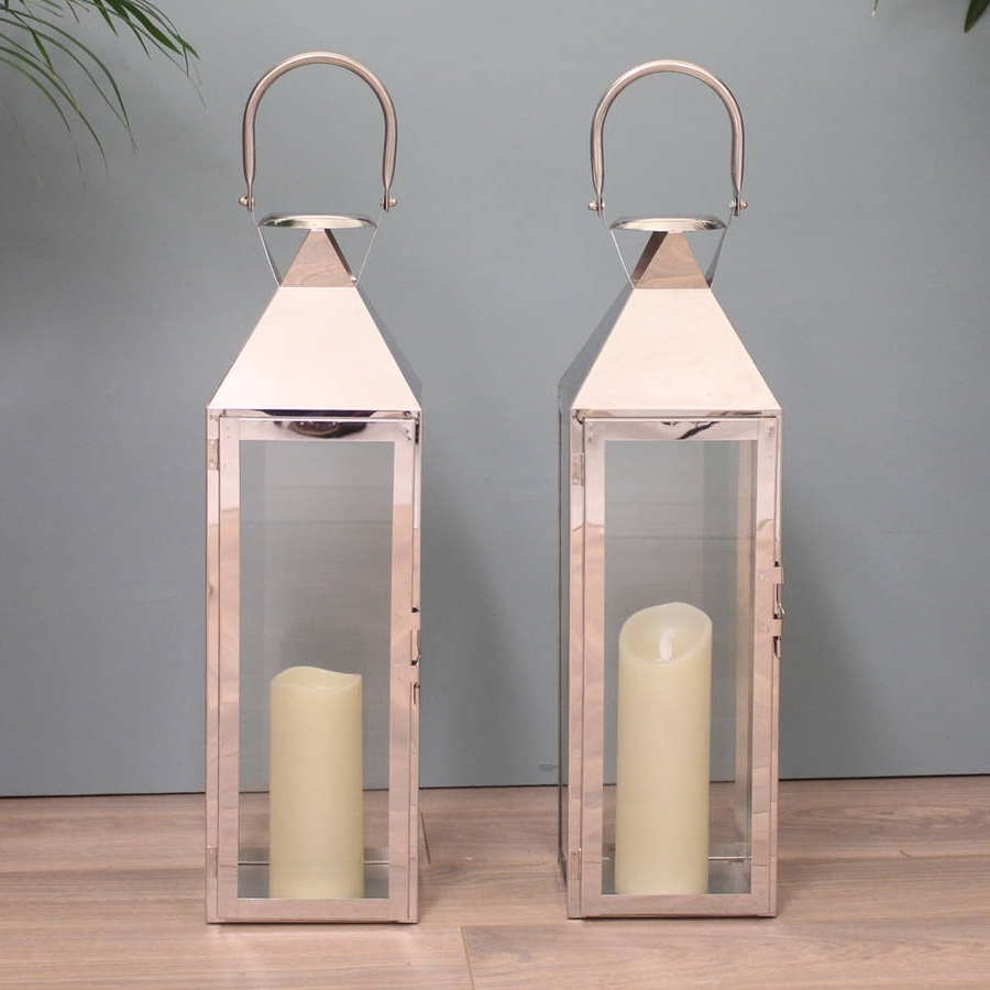 Well Known Two Knightsbridge Silver Candle Lanterns 55Cmgarden Selections With Regard To Silver Outdoor Lanterns (View 18 of 20)