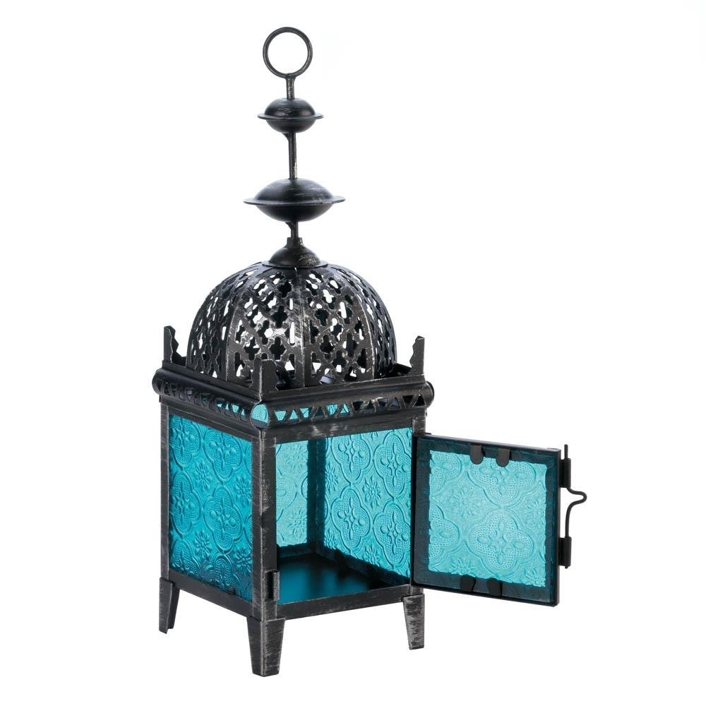 Well Liked Floor Lanterns, Blue Medallion Metal Decorative Patio Charm Outdoor Inside Blue Outdoor Lanterns (View 6 of 20)
